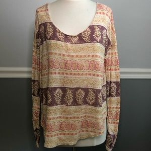 Free People Floral Boho Ruched Long Sleeved Tee